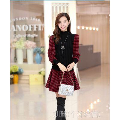 韩版秋冬撞色假两件修身格子仿毛呢针织连衣裙