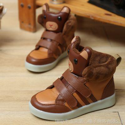 爱迪生儿童雪地靴女童鞋男童靴子宝宝真皮男童鞋2014新冬短棉靴