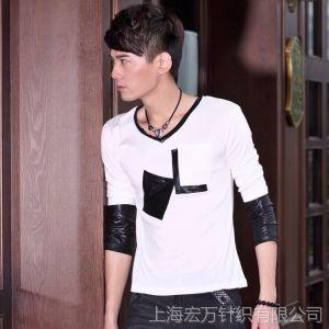 供应一件代发 男装代理韩版潮流男士长袖T恤 秋冬时尚纯棉男士打底衫