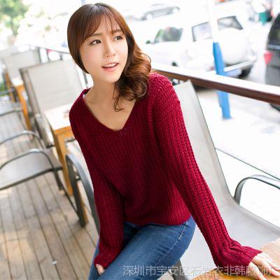 633#秋季新款韩版休闲纯色宽松大码针织衫低领短款套头毛衣女