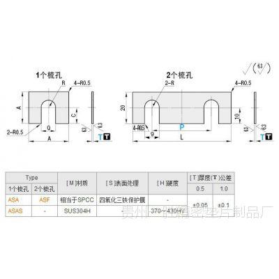 方形垫片 圆孔型  多孔垫片方形垫片  圆孔垫片 型号 ASACS ASACR
