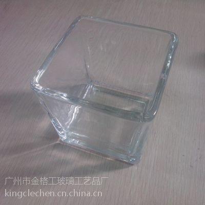 厂家批发定制机压玻璃方缸/8*8*8 玻璃方杯 高档蜡烛杯