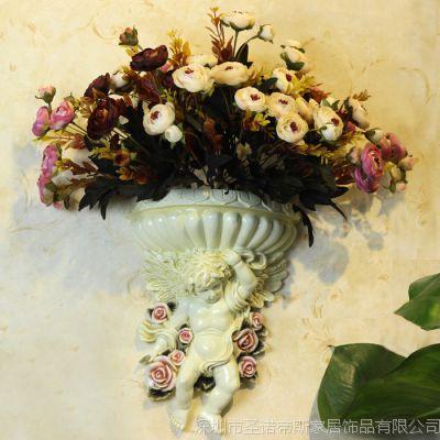 欧式壁挂天使花瓶 复古酒吧挂饰墙饰壁饰 创意家居墙面装饰品挂件