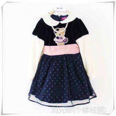 802Q1外贸童装韩国小熊原单14年秋款女童天鹅绒公主连衣裙童裙