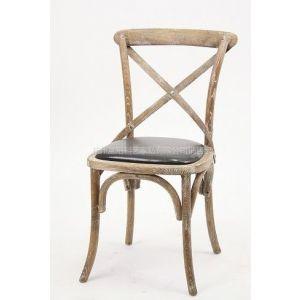 供应皮坐垫法式实木椅子|皮坐垫交叉椅|阳台休闲椅