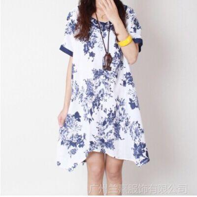 供应2014夏季新款女装宽松大码民族风绣花领子棉麻短袖连衣裙