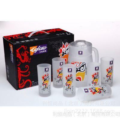 艾格莱雅 中国风水具七件套 茶具玻璃杯套装 7件套磨砂套装水壶
