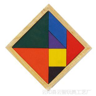 木制玩具 亲子玩具 儿童彩色七巧板 彩色说明书 圣诞礼物