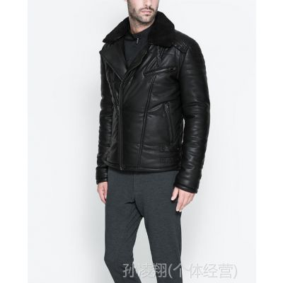 供应冬季新款 Z系男装 男士加厚仿皮棉衣 时尚绒面领外套0706/339