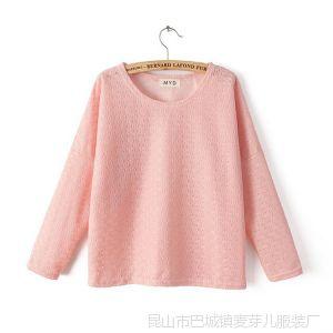 供应DZ 14新款韩版圆领蝙蝠袖糖果色短款套头T恤女装 批发 打底衫