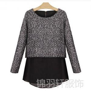 供应511女装秋冬新款雪纺衫假两件拼接长袖女式t恤 女士打底衫长袖