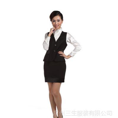 厂家定制批发女式马甲 秋冬新款OL通勤正装修身二粒扣双口袋女装