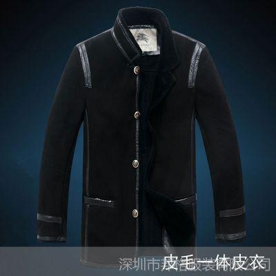供应B家新款冬英伦男士皮衣皮毛一体羊皮男式保暖外套真皮大衣中长款