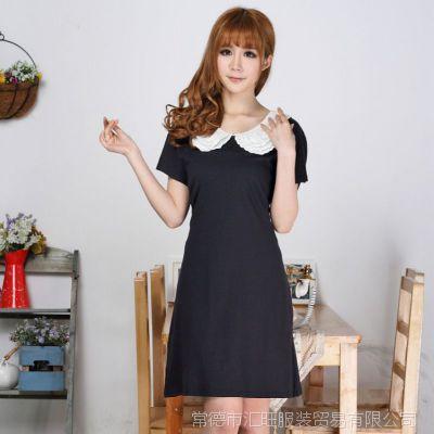 胖MM大码夏装显瘦连衣裙 加肥加大深蓝色甜美三层绣花领子连衣裙