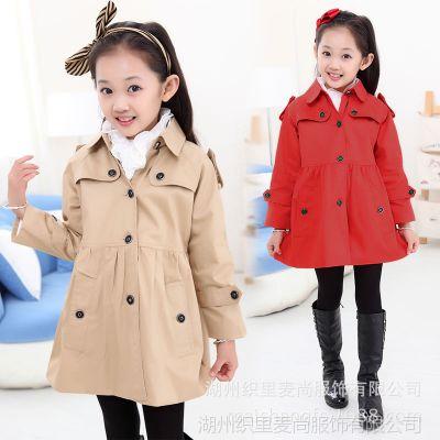 2014秋装新款女童风衣 休闲韩版儿童外套 中大童风衣 童装批发