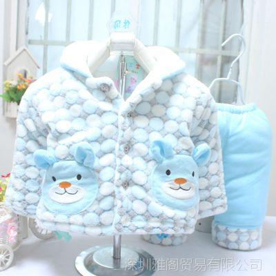 秋冬装棉衣套装男童外出服装婴幼儿女童棉衣服一件代发加盟代理