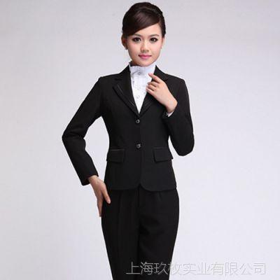 按图定制经理高档黑色二粒扣女士西服套装银行经理工作服行政正装
