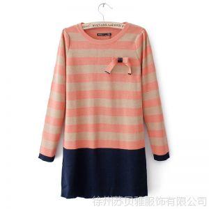 供应13秋冬新款韩版蝴蝶结条纹假两件毛衣针织衫套头打底衫外套女批发