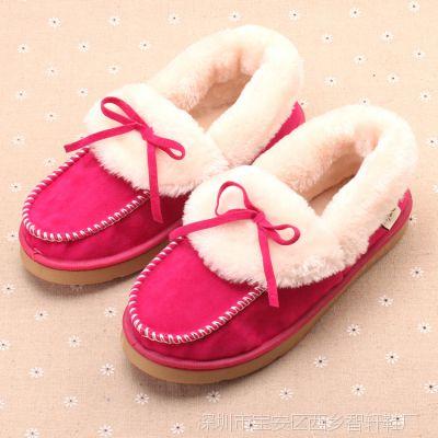 韩版个性潮流蝴蝶结室内外棉鞋 女式时尚搭配保暖鞋 牛筋底1085A