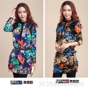 供应2014新款韩版女装雪纺衫大码显瘦上衣雪纺打底衫长袖连衣裙