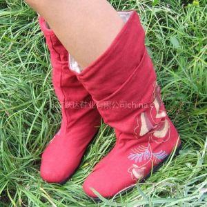 供应跃达时尚复古千层底布鞋绣花鞋布靴