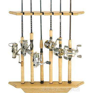 木制壁挂式鱼竿摆放架 6位鱼竿收纳架展示架 厂家直销