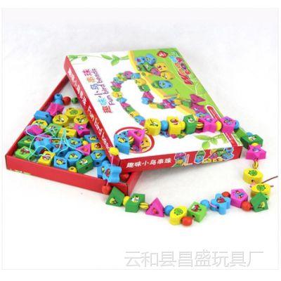 趣味小鸟串串珠儿童益智穿线绕珠串珠益智木制玩具YX682