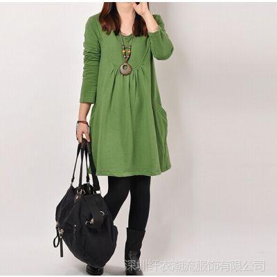 秋季女装新品韩版大码宽松A字中长款长袖连衣裙女装 胖mm装
