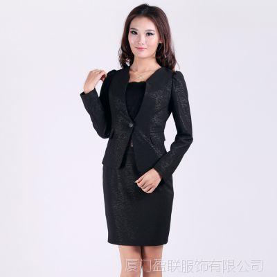 白领职业装套装女士制服黑色套装 女职业短裙子长袖西服 订做