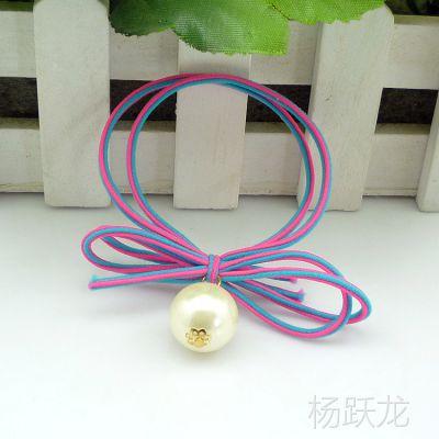 韩版新款大珍珠打结发圈发绳 双条成人皮筋发饰头饰批发满包邮