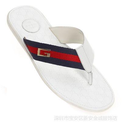 供应产家直销2014男士新款休闲真皮拖鞋  2H414000GM114800198