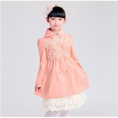 韩版童装2014秋季新款女童风衣外套 中大童淑女双排扣风衣 童外套