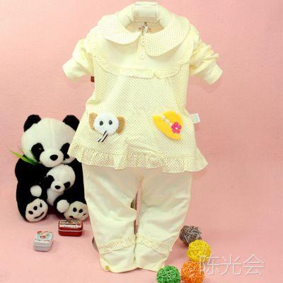 2014童装 童套装热销多智彩可爱小象套装3038韩版时尚女童外出服