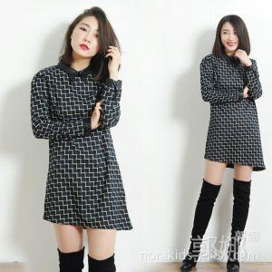 供应N1111 2014新款欧美时尚拼皮尖领子格纹印花连衣裙