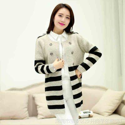 2014新款秋装外套女装开衫针织衫韩版毛衣女大码条纹女款针织衫