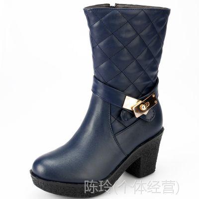 外贸鞋批发冬季新款粗跟中跟搭接中筒靴休闲舒适性感女靴子