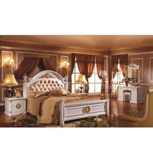 厂家供应高档欧式白亮光套房床/床头柜/妆台/衣柜