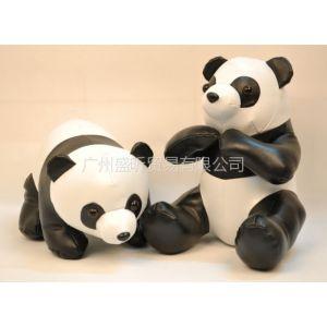 供应PU皮熊猫公仔高档礼品订制动漫周边玩具生产加工