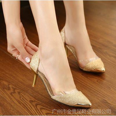 供应一件代发 2014网络爆款女单鞋 职业亮片半透明中跟百搭尖头鞋