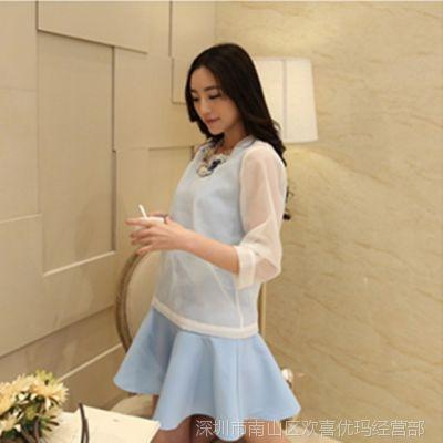 2015新款两件套荷叶边连衣裙高圆圆同款修身无袖OL打底裙