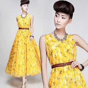392#2013夏装新款欧美女装橙子印花雪纺真丝连衣裙背心裙配腰带