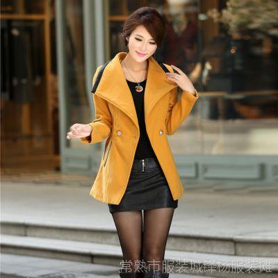 秋冬新款女装外套 韩版修身女式大衣 中长款翻领腰带女大衣S1010
