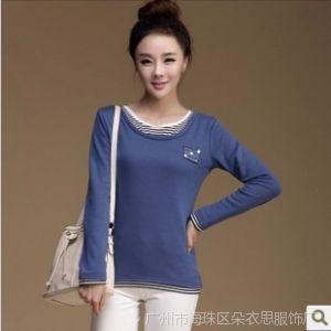 供应好货源2014秋季新款加绒加厚假两件舒适长袖T恤 纯棉打底衫女