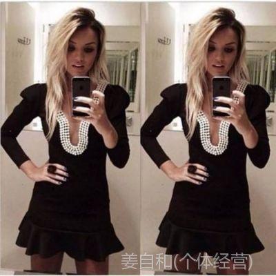 2014黑色长袖迷你珍珠V领子垫肩舞会欧美连衣裙外贸热销