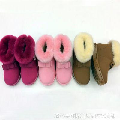 儿童雪地靴冬款儿童靴牛皮冬靴宝宝棉鞋男童鞋女童亲子短靴子防水