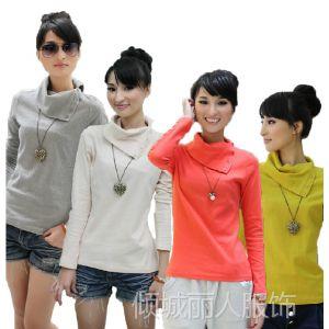供应秋冬新款 韩版女装修身纯色纯棉高领套头T恤长袖打底衫0950