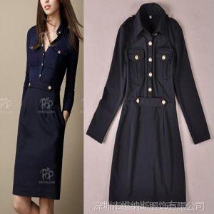 供应一件代发 秋冬款长袖罗马针织修身连衣裙 V6091