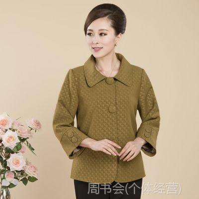 2014秋款新品中老年女装毛呢子大衣中年外套时尚妈妈装上衣女