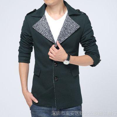 2014秋冬新品男装 男士韩版中长款风衣外套 男式单排扣毛呢大衣