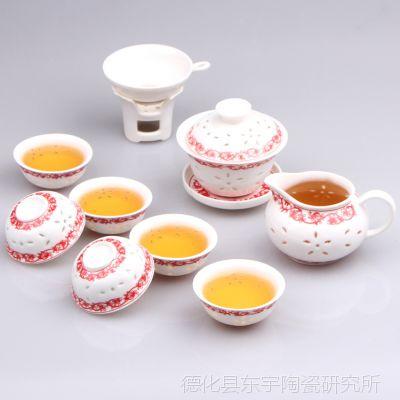 德化茶具 粉彩玲珑陶瓷茶具套装 红茶茶具 功夫茶具 可定制LOGO